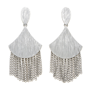 "Silver tone post earrings featuring a textured metal with fringe decor. Approximately 1 7/8"" in length."