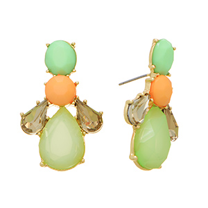 "Gold tone post earrings featuring mint green teardrop shaped cabochons with peach and mint green stone accents. Approximately 1 3/8"" in length."
