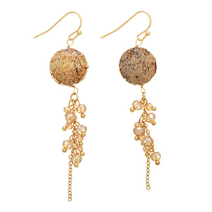 "Gold tone fishhook earrings featuring a round brown stone with a dangling cluster of topaz beads. Approximately 2"" in length."
