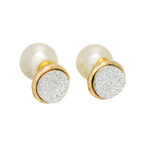 Gold tone double sided earrings with a silver tone textured disk front and faux pearl back.