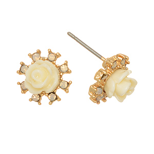 "Gold tone post earrings featuring an ivory rose surrounded by opal rhinestones. Approximately 7/16"" in length."