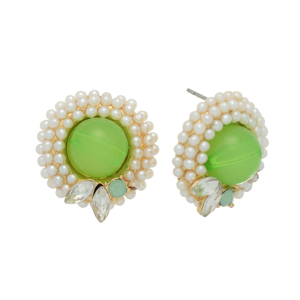 "Gold tone post earrings featuring a greem bead surrounded by faux pearls with rhinestone accents. Approximately 3/4"" in length."