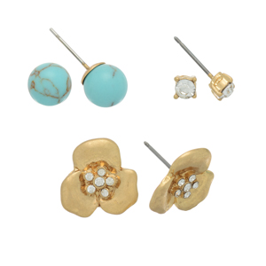Set of three gold tone post earrings featuring rhinestone studs, turquoise balls, and metal flowers.