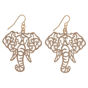 "Gold tone fishhook earrings featuring a cutout elephant head. Approximately 1 1/2"" in length."