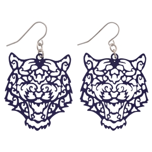 "Purple fishhook earrings featuring a cutout tiger. Approximately 1 1/2"" in length"