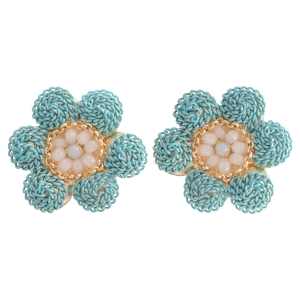 "Burnished gold tone earrings featuring a turquoise chain flower with ivory beads. Approximately 1"" in length."
