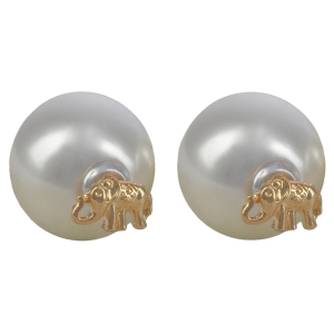 "Gold tone double sided earrings featuring an elephant front and a faux pearl back. Approximately 1/2"" in length."