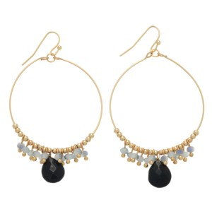 "Gold tone wire ring earrings with a cluster if gray beads and a black onyx teardrop shaped stone. Approximately 1 1/2"" in length."