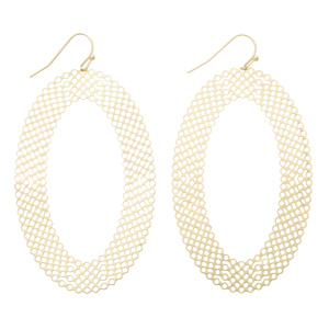 "2 1/2"" Gold tone fishhook earrings displaying an oval with cutouts."