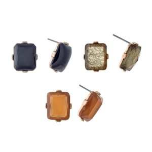 "Gold tone 1/2"" rectangular shaped stud style earrings. Set of 3 5/8"" black, amber, and sage studs."
