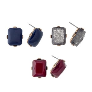 "Burnished gold tone 1/2"" rectangular shaped stud style earrings. Set of 3 5/8"" navy, burgundy,and gray"