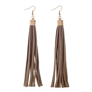 "4 1/4"" Neutral faux suede tassel earrings with a gold tone cap."