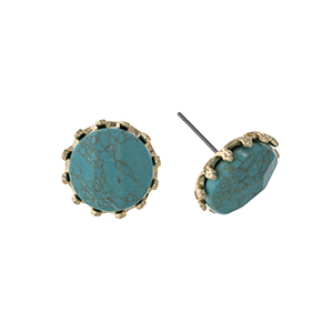 """Gold tone post style earrings displaying a round turquoise faceted natural stone. Approximately 5/8"""" in length."""
