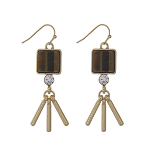 "Gold tone fishhook earrings displaying a tiger eye square natural stone with a rhinestone and metal fringe. Approximately 1 3/4"" in length."