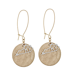 "Two tone fishhook earrings displaying a disk with a layered cutout state of Kentucky. Approximately 2 7/16"" in length."