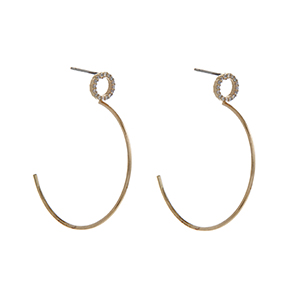 "Gold tone post style earrings displaying a pave ring and a half hoop. Approximately 1 1/2"" in length."