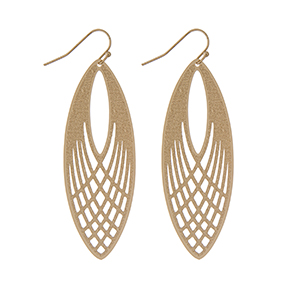 "Gold tone fishhook earrings displaying a textured casting with cutouts. Approximately 2 5/16"" in length."