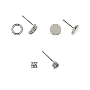 Silver stone set of three post style earrings displaying a rhinestone stud, a ring, and a solid disk.