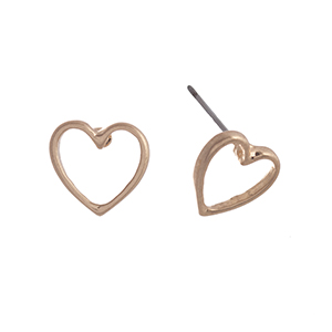 "Matte gold tone post style earrings displaying an open heart. Approximately 7/16"" in length."