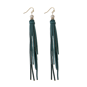 "Teal leather tassel earrings with a pave ring and faux pearl accent. Approximately 4"" in length."