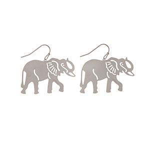 "Silver tone fishhook earrings featuring an elephant. Approximately 2"" in length."