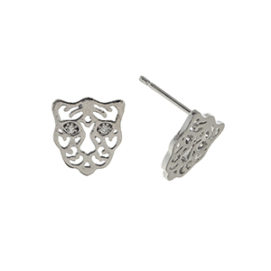 "Silver tone post style earrings displaying a cutout tiger with rhinestone eyes. Approximately 3/8"" in length."