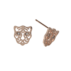 "Rose gold tone post style earrings displaying a cutout tiger with rhinestone eyes. Approximately 3/8"" in length."