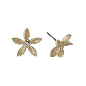 """Gold tone flower earrings whit a rhinestone focal. Approximately 3/4"""" in length."""