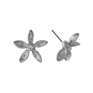 "Silver tone flower earrings with a rhinestone focal. Approximately 3/4"" in length."