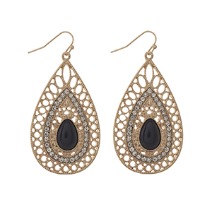 "Gold tone fishhook earrings displaying a teardrop shaped casting with a black cabochon and rhinestone accents. Approximately 2"" in length."