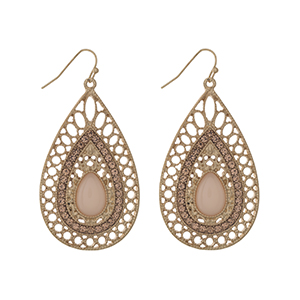 "Gold tone fishhook earrings displaying a teardrop shaped casting with a peach cabochon and rhinestone accents. Approximately 2"" in length."