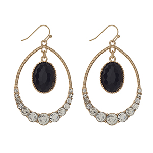 "Gold tone fishhook earrings displaying a teardrop shape with a black hanging stone and clear rhinestones. Approximately 2"" in length."