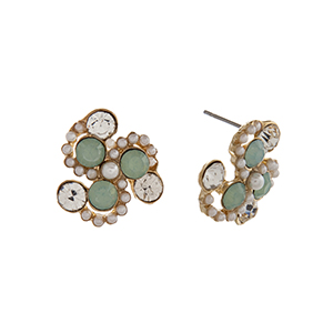 "Gold tone post style earrings displaying mint and clear round rhinestones with faux pearl accents. Approximately 3/4"" in length."