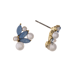 "Gold tone post style earrings displaying blue pointed oval cabochons with faux pearl accents. Approximately 5/8"" in length."
