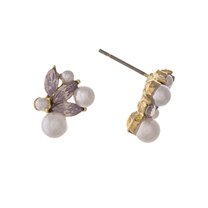 "Gold tone post style earrings displaying pink pointed oval cabochons with faux pearl accents. Approximately 5/8"" in length."