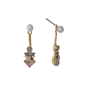 "Gold tone ear jacket earrings displaying a faux pearl with pink multiple shape rhinestones. Approximately 1 1/8"" in length."