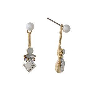 "Gold tone ear jacket earrings displaying a faux pearl with white and clear multiple shape rhinestones. Approximately 1 1/8"" in length."