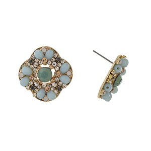 "Gold tone post style earrings displaying a cluster of pale blue beads with a mint rhinestone focal. Approximately 7/8"" in length."