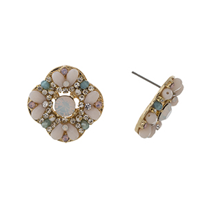 "Gold tone post style earrings displaying a cluster of peach and turquoise beads with a white opal rhinestone focal. Approximately 7/8"" in length."