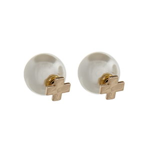 "Gold tone double sided earrings with a ""x"" front and a faux ivory pearl back. Approximately 1/2"" in length."