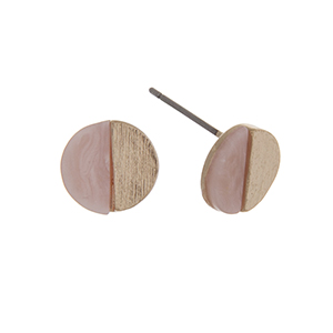 "Gold tone post style earrings displaying a circle with a rose quartz semicircle stone. Approximately 3/8"" in length."