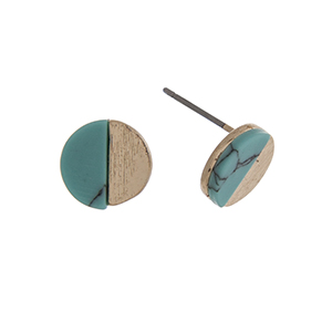 "Gold tone post style earrings displaying a circle with a turquoise semicircle stone. Approximately 3/8"" in length."