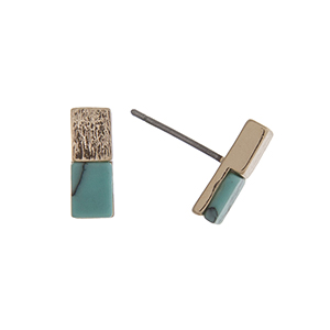 "Gold tone post style earrings displaying a bar with a turquoise rectangular stone. Approximately 7/16"" in length."