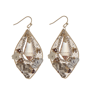 """Gold tone fishhook earrings displaying a teardrop shape casting with a topaz stone surrounded by clear rhinestones and an ivory rose. Approximately 1 13/16"""" in length."""