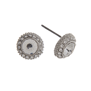 "Silver tone clear rhinestone earrings with a halo. Approximately 3/8"" in length."