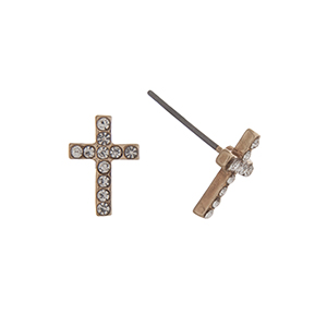 "Gold tone pave cross post style earrings. Approximately 7/16"" in length."