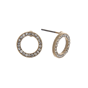 "Gold tone pave ring post style earrings. Approximately 7/16"" in length."
