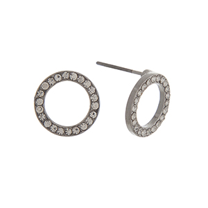 """Silver tone pave ring post style earrings. Approximately 7/16"""" in length."""