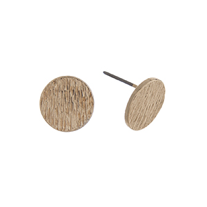 "Gold tone textured disk post style earrings. Approximately 3/8"" in length."