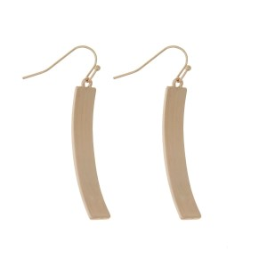"Gold tone fishhook earrings with a brushed curved bar. Approximately 2"" in length."